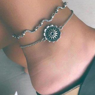 2 Pcs/set Summer Exquisite Beach Wave Sun Flower Beads Chain Pendant Multilayer Anklet for Women