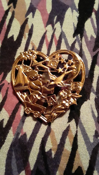 Baby Shower Heart Brooch