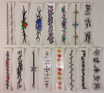 Armband / Bracelet Temporary Tattoos Set of 15 Barbed Wire, Tribal, Crosses, Asian Symbols, Flowers