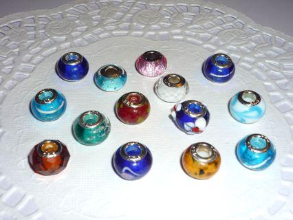 14 pcs New 925 Silver Core Euro European Charm Beads!