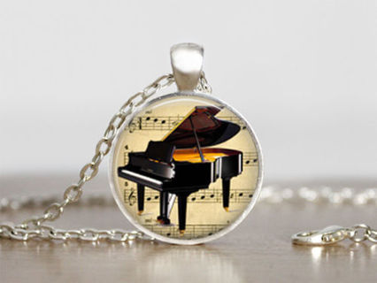 ~FOR THE MUSIC LOVER!~PIANO NECKLACE~BONUS EARRINGS~NEW~GIFT WRAPPED!~