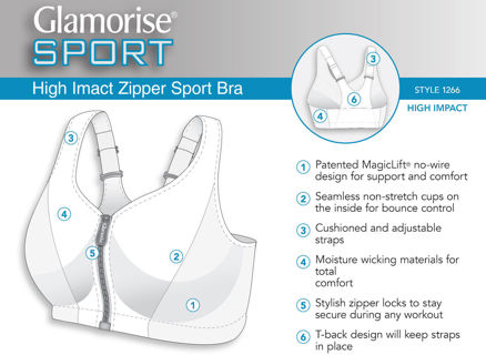 Glamorise High Impact MagicLift® $55.00 New Front Zip  Sport Bra