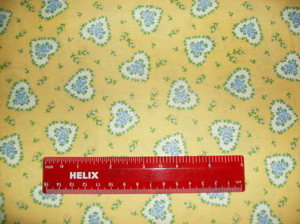 "COTTON QUILTING FABRIC :Yellow with  Blue & White Hearts and Flowers - Fat Quarter Approx 18"" by 22"""