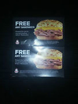 (5) Arby's Free ANY SANDWICH Coupons/cards. Expiration12/31/13.