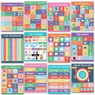 12 Spanish Posters for Classrooms - Learning Decorations for Kids, Teaching Alfabeto Numeros Colores