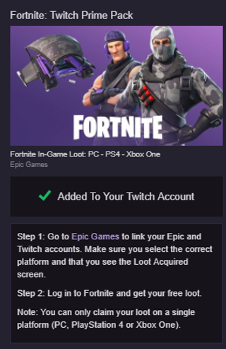 Free: Free Fortnite loot! (Twitch Prime Pack) - Video Game