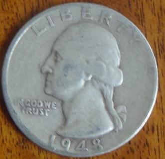 1948 S Silver Washington Quarter