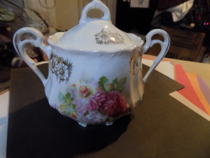 Fine porcelain double handled fro Germany hand painted sugar bowl & lid