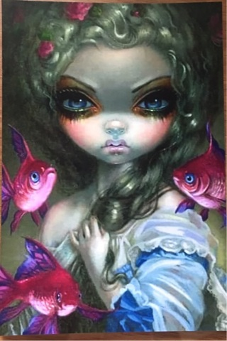"""BIG EYES WITH PINK FISH - 3 x 5"""" MAGNET"""