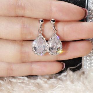 [GIN FOR FREE SHIPPING] Dazzling Crystal Teardrop Dangle Earring 925 Silver Zircon
