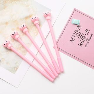 Cute Pink  Cartoon Pig Gel Pen 0.5mm Black Ink Pens School & Office writing Supply Kawaii Statione