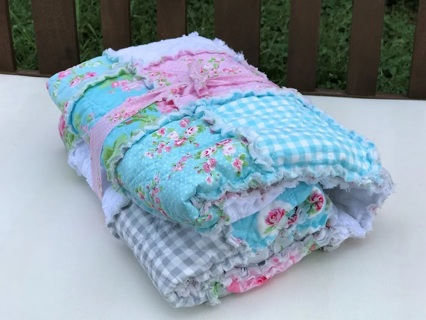 """New Baby Shower Gift Set 52""""x46"""" Blanket Throw Lap Quilt With 18""""x49"""" Banner Shabby Chic Roses"""