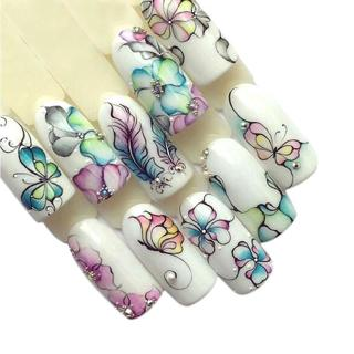 1 Sheets Colorful Purple Fantacy Flowers Nail Stickers Water Transfer Manicure Decals Tip Decorati
