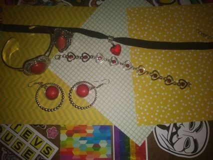 ❇Jewelry lot ❇Red with black marble earrings and braclet and more Read description