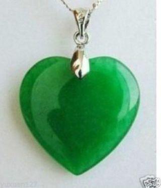 Beautiful Jewelry Green Jade Heart Shape Silver emerald Pendant necklace