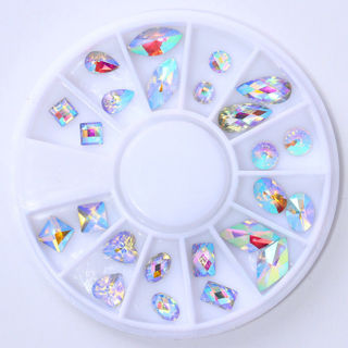 2x AB Color Nail Rhinestones Marquise Heart Water Drop Flat Bottom Resin Stickers