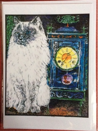 """CAT AND CLOCK - 5 x 7"""" art card by artist Nina Struthers - GIN ONLY"""