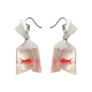 1 Pair Charm Jewlery Creative Gold Fish in Transparent Bags Earrings Good Gift