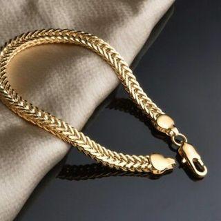 18K Gold Plated Women Men Snake Bone Bracelet Curb Chain Fashion Bangle Jewelry