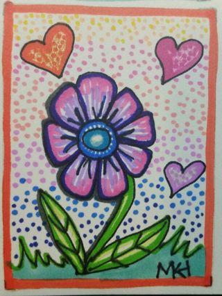 Blooming Love - Valentine - #207- My Original MK Drawing ATC / ACEO print enhanced with gel pens