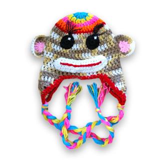 Free Adult Rainbow Sock Monkey Hat Beanie Cap Crochet Pattern
