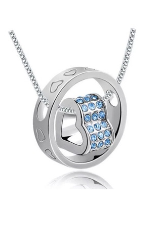Women necklace fashion heart light blue crystal sliver chain necklace