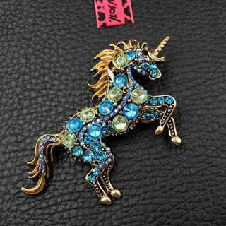 ☆Betsey Johnson Aqua Blue Rhinestone Unicorn Brooch