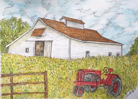 """WHITE BARN WITH TRACTOR - 5 x 7"""" Art Card by artist Nina Struthers - GIN ONLY"""