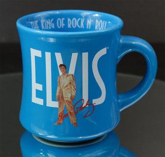 ELVIS PRESLEY Aqua Colored Coffee Mug Authentic Elvis Signature Product