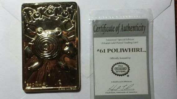 Poliwhirl Gold Plated Trading Card (see description)
