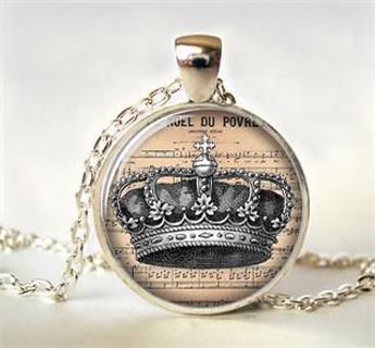 ~Your crown, Milady~GLASS DOME CABOCHON STYLE NECKLACE~NEW~BONUS EARRINGS~GIFT WRAPPED!~