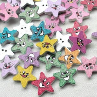 50PCs Wood Buttons Star Smile Sewing Craft DIY 2 Holes
