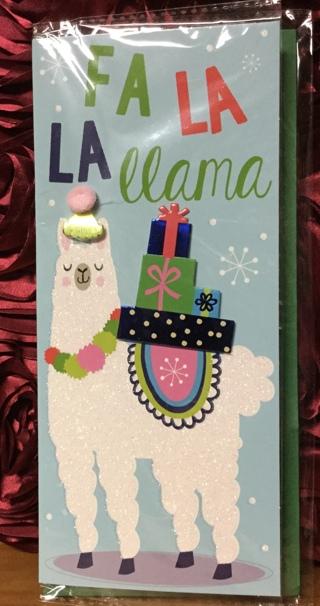 Dimensional Llama Christmas Card & Envelope