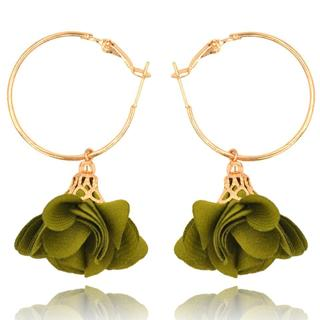Golden circle yarn fabric cloth flower handmade craft hanging dangle drop earrings for womens ladi