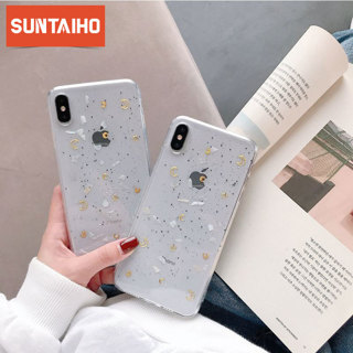 Luxury Star Bling Glitter Tpu Phone Case for Iphone Xr X XS Max Clear Back Star moon shell Case
