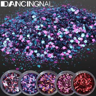5 Pot/Set Flake Chunky Nail Art Glitter Powder Dust Acrylic UV Gel Tips Decor