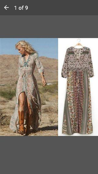 Vintage Womens Bohemian Floral Printed Dress Split Long Maxi Dress Loose Beach Sundress