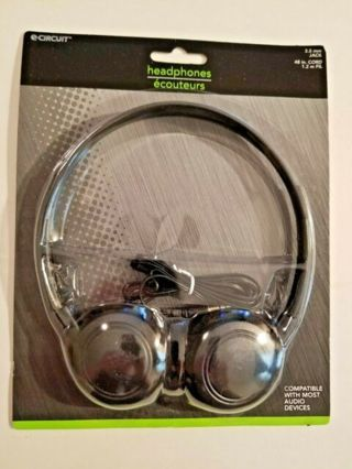 NEW in PACK=ECircuit Headphones 3.5 mm Jack 48 Inch Cord Black Adjustable Headband