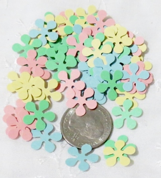 Pastels Mix Tiny Cardstock Flower Die Cuts 60