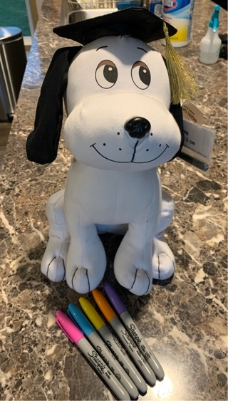 NEW Autograph dog for graduation with 5 sharpie markers