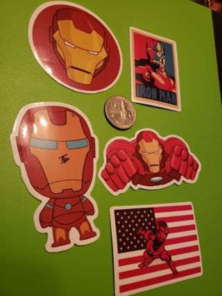 Marvel Iron Man Set of 5 Vinyl Decal Laptop Phone Bike Sticker Avengers