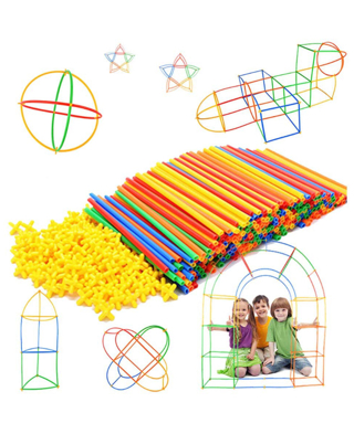 Straw Constructor STEM Building Toys 300 pcs-Colorful Interlocking Plastic