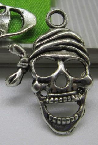 Antiqued Tibetan Silver Skull With Bandana Pendant Charm