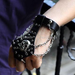 Leather Skull Gothic/Biker Bracelet BN