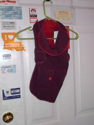 Martha Stewart Dog Jacket, Grape Color with Red interior, Size Large