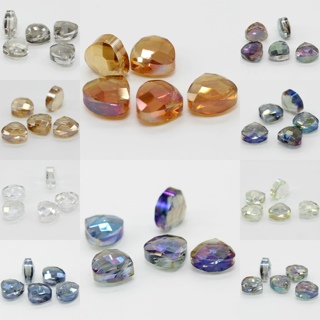 20PCs 12X13mm Faceted Glass Crystal Loose Spacer Teardrop Charm Beads