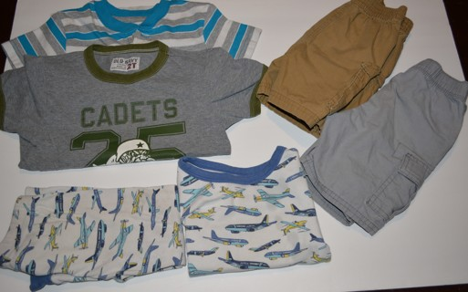 Boys 2T Six (6) Piece Summer Clothes Lot Shirts Shorts Sleepwear