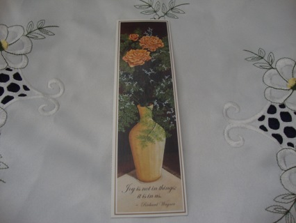 Rose Flowers in a yellow vase Bookmark  By Mouth & Foot Artists ~ Free Shipping