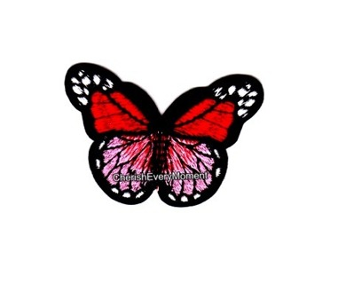 Red & Pink Monarch Butterfly Embroidered Sew-on Patch