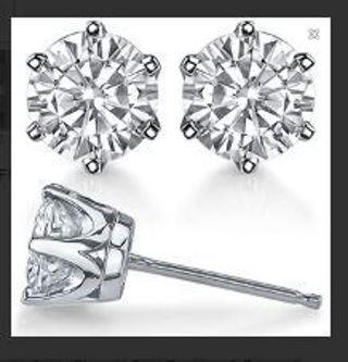 1 NEW pair Stunning .925 Sterling Silver CZ Stud Earrings (6mm) Cubic Zirconia Stud Earrings FREE